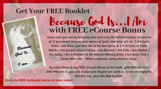 Red Azelais with overlay text of Receive Free Booklet Because God Is I am with sign up for FREE eCourse Bonus to God Book