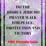 Purple trees with text overlay: Do Joshua Jericho Prayer walk for peace, protection, victory