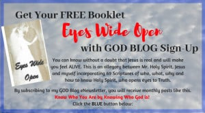 Blue sky with overlay text Free Booklet Eyes Wide Open with God Blog Sign Up
