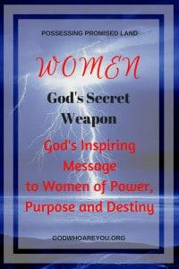 Lightening landscape with text overlay: Women God's Secret Weapon